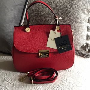 Red leather Giorgio Costa handbag ITALY-NWT